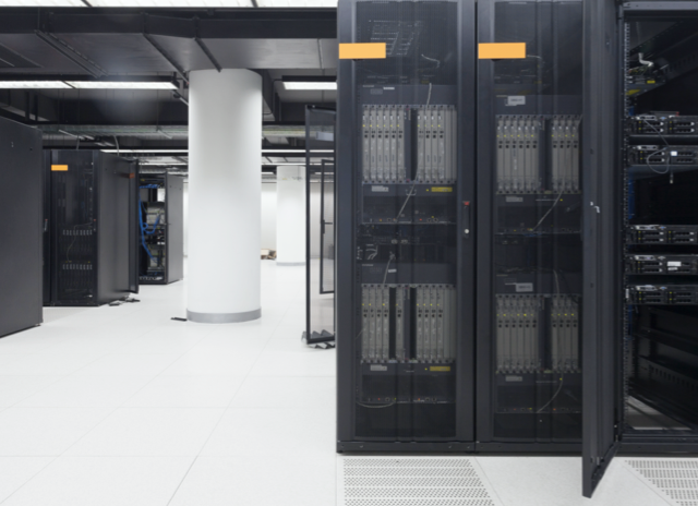 Mobile image of data center with black racks and enclosures