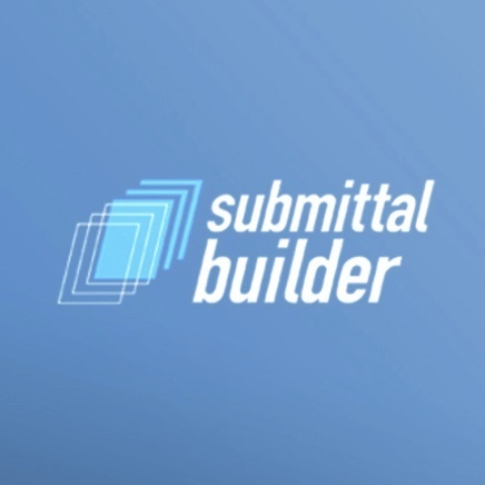 Blue background with submittal builder text logo