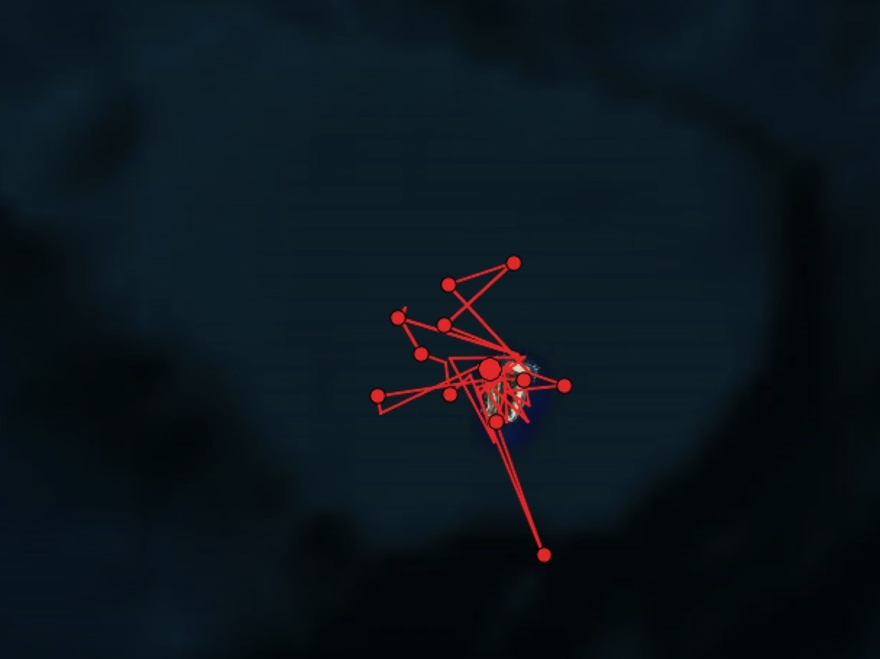 Red line satellite track around island.