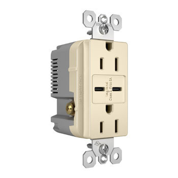 6.0A Ultra-Fast Type C/C USB Chargers with Duplex 15A Tamper-Resistant Outlet, Light Almond