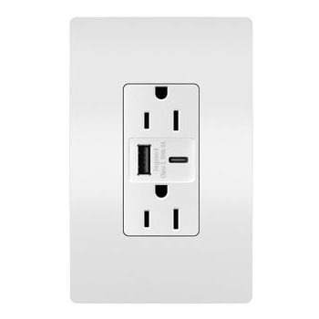 6.0A Ultra-Fast Type-A/C USB Charger with Duplex 15A Tamper-Resistant Outlet, White