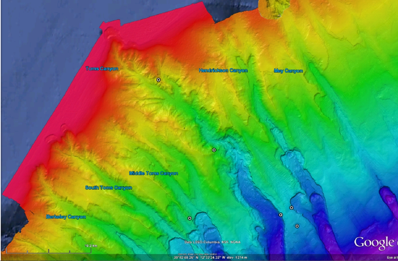 submarine canyon map created with high resolution multibeam sonar, showing depths and shallows