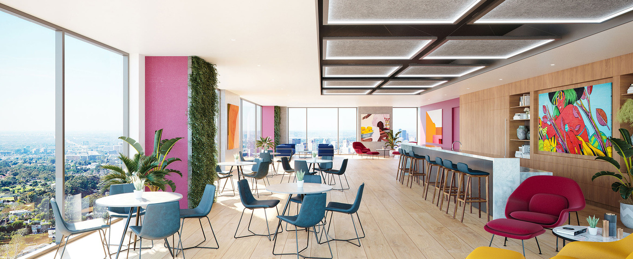 Large colorful dining space with modern furniture and plants