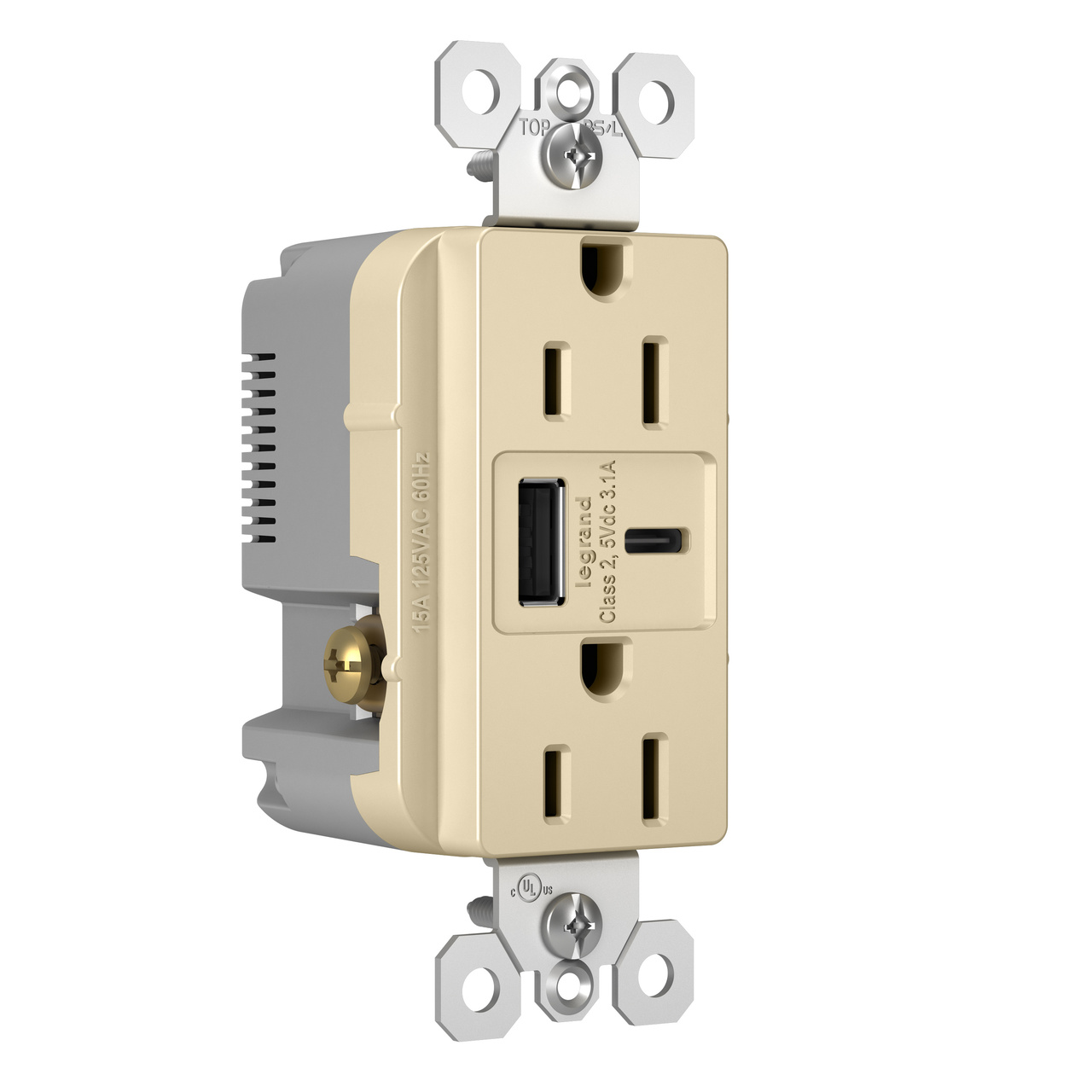Hybrid Type A/C USB Chargers with Duplex 15A Tamper-Resistant Outlet, Ivory