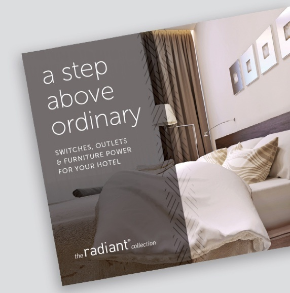"screenshot of the radiant hospitality brochure with the title ""A Step Above Ordinary"" and an image of a white bed in beige hotel room"