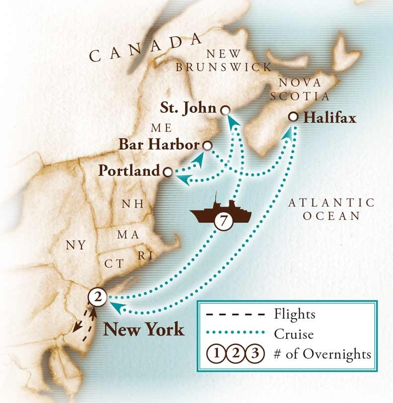 Tour Map for New England Cruise