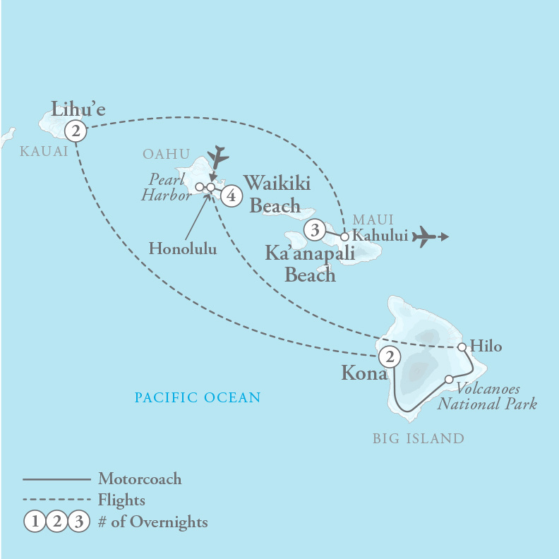 Tour Map for Hawaii Four Island Holiday