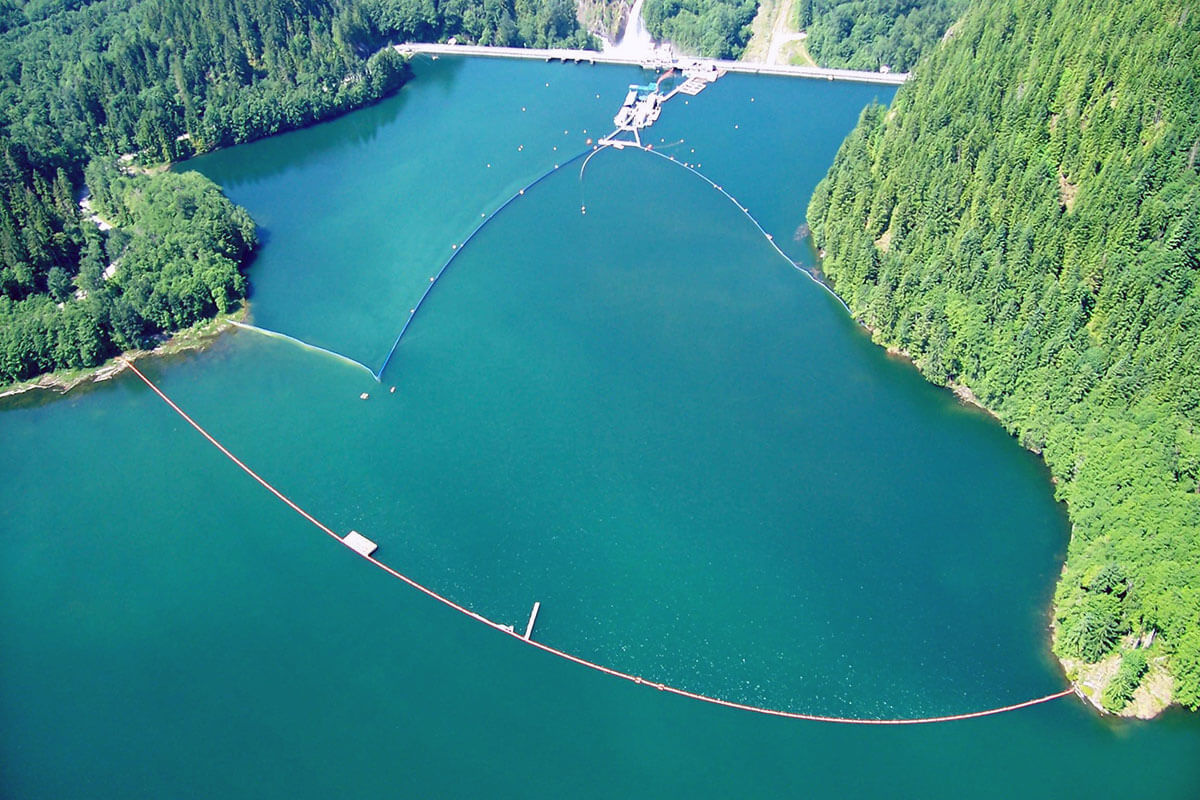 Aerial view of the floating surface collector on Baker Lake