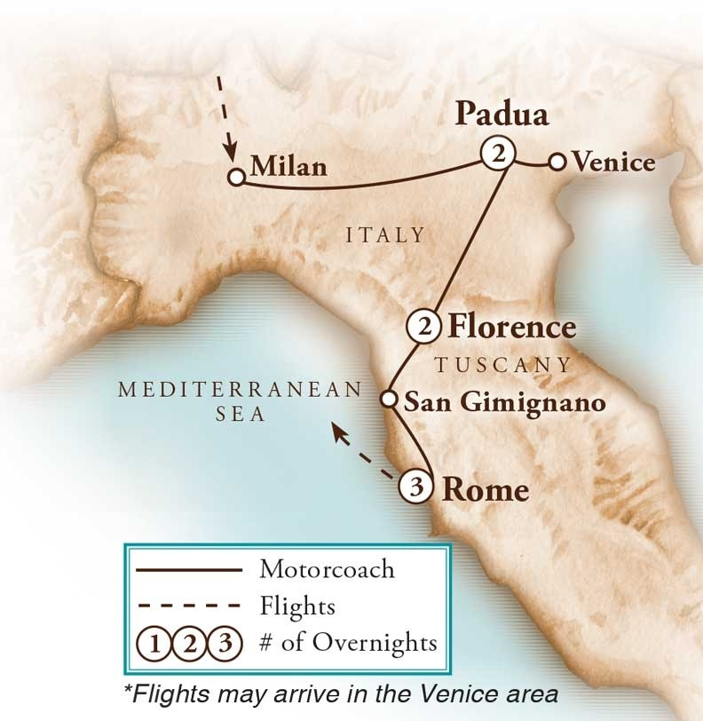Tour Map for Classic Italy-Rome, Florence & Venice