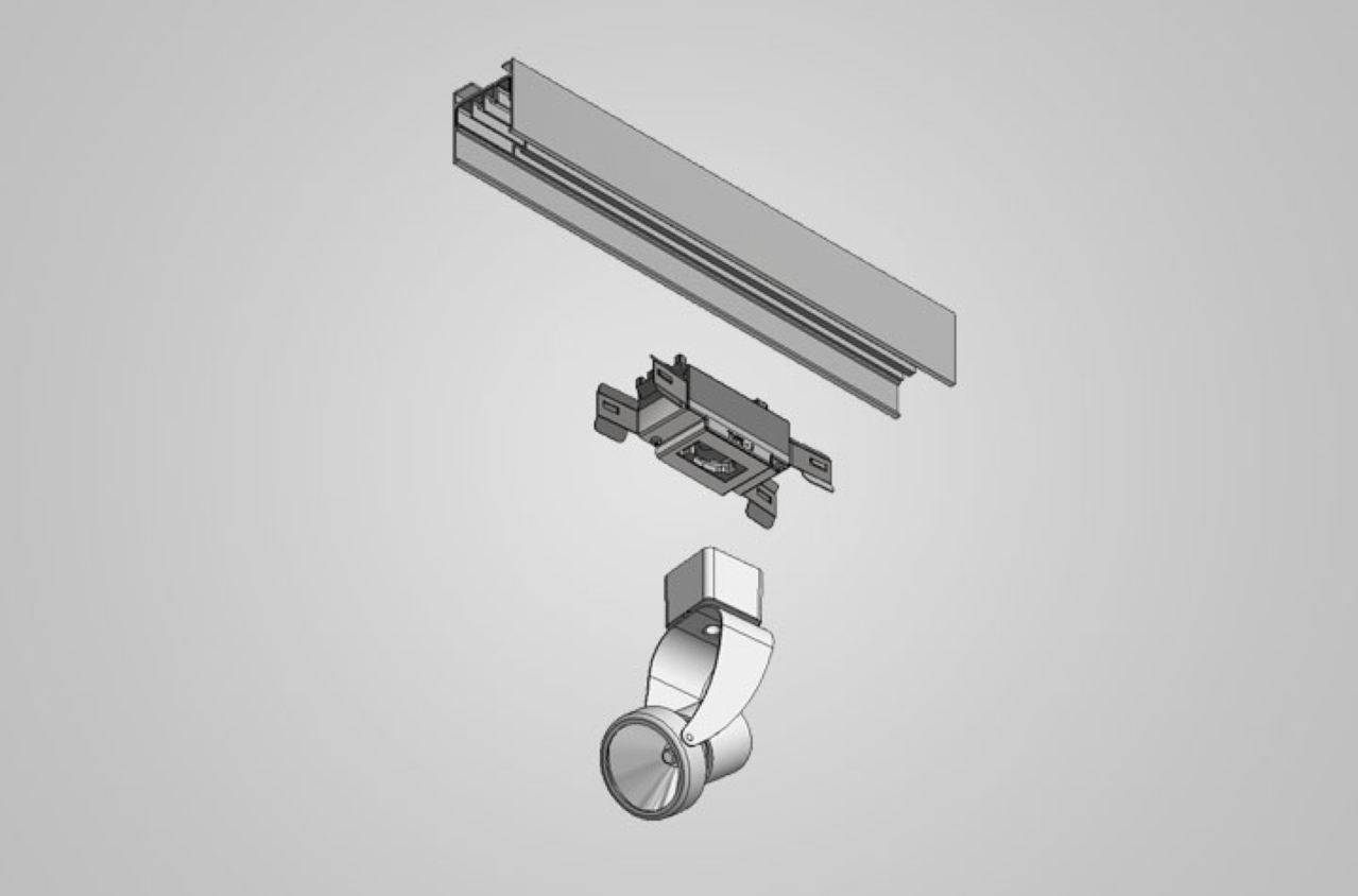 Image showing that the T1 Series Track Busway includes an adapter for track lighting while offering fast installation and plug-and-play functionality