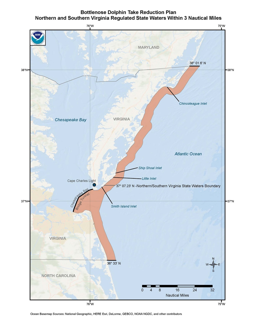 This is a map of the Bottlenose Dolphin Take Reduction Plan for northern and southern Virginia.