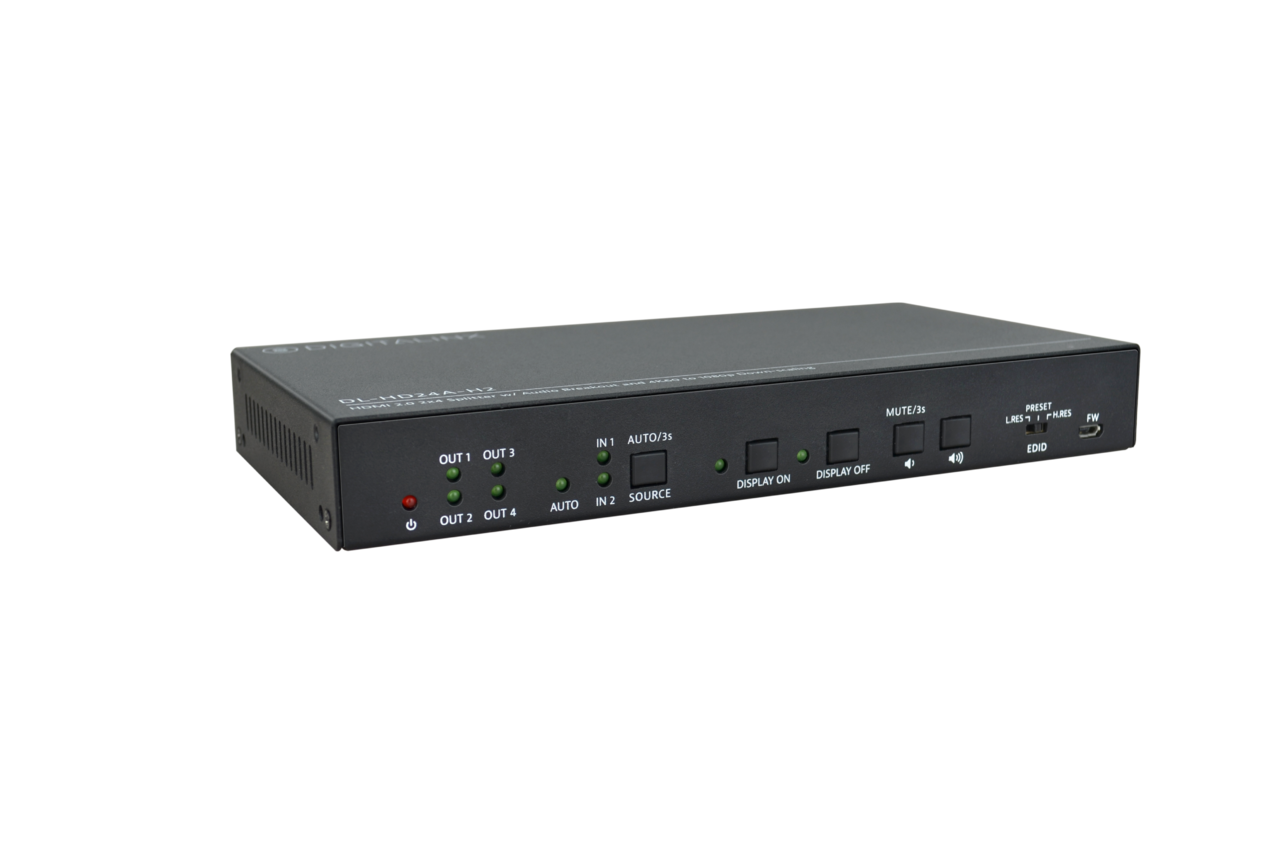 DL-HD24A-H2 - 2 Input 4 Output HDMI Distribution Amplifier / Splitter