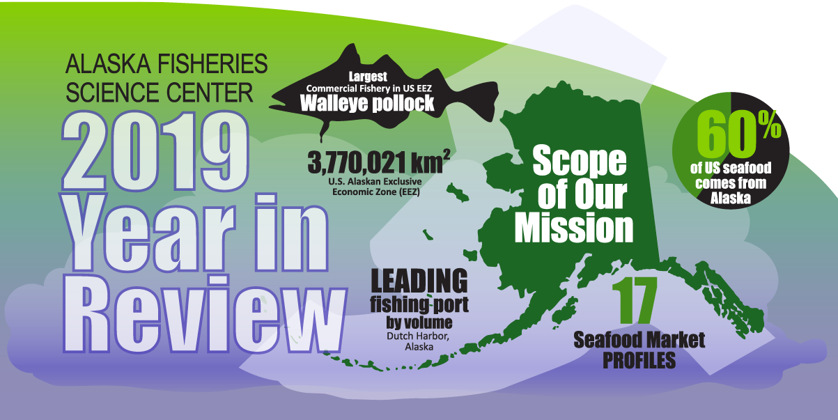 Alaska Fisheries Science Center 2019 Year in Review infographic hero image