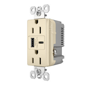 6.0A Ultra-Fast Type-A/C USB Charger with Duplex 15A Tamper-Resistant Outlet, Light Almond