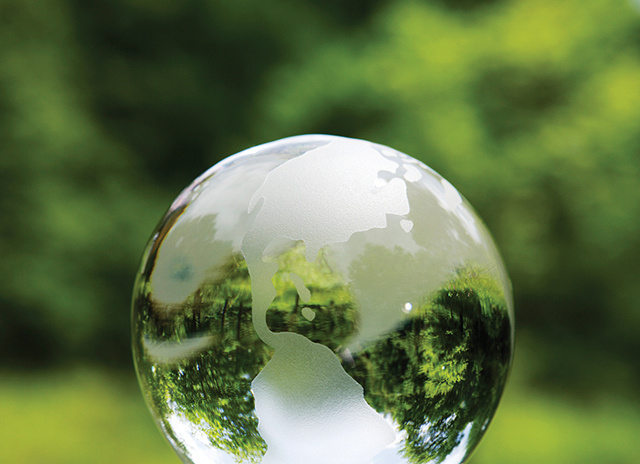 Crystal globe with green background