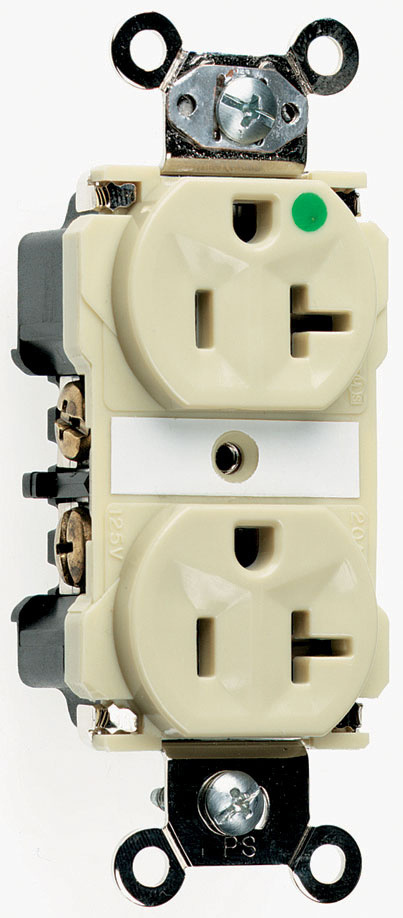 Extra Heavy-Duty Hospital Grade Receptacles, Back & Side Wire, 20A, 125V, Ivory