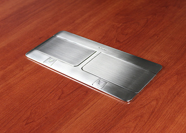 deQuorum Flip-Up Table Box  2-Gang 15A recept, stainless steel finish- closed side view, DQFP15ST-2A