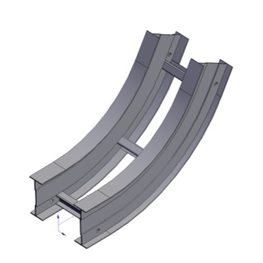 Cable tray 3D rendering of metallic vertical fitting elbow inside 60 degree section