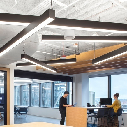 Open work space with ceiling lighting