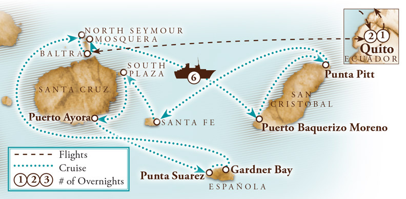 Tour Map for Galapagos Islands Adventure