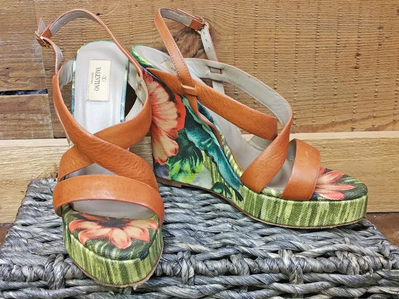 Valentino floral wedges, $125, at Second Hand Rose