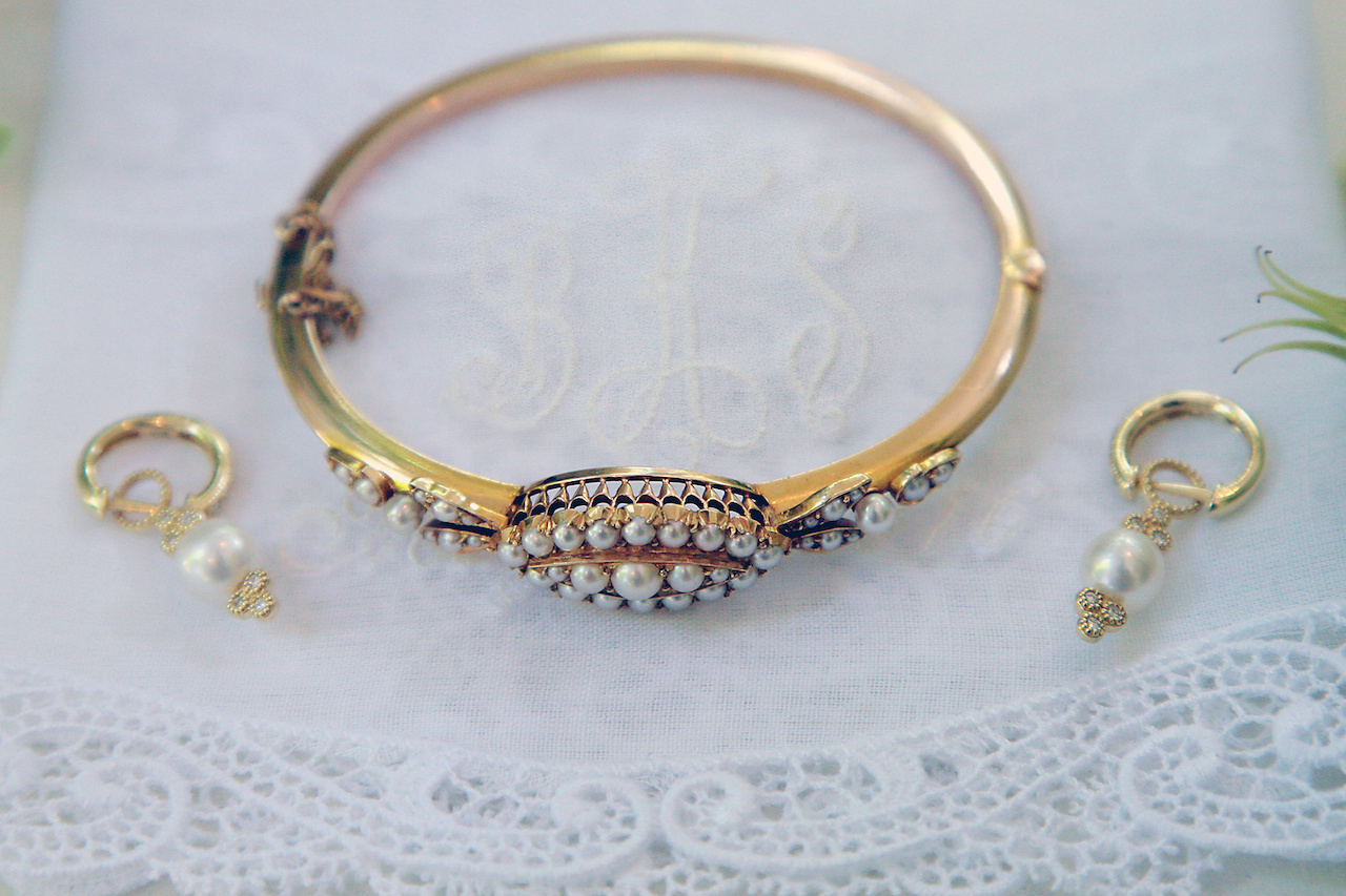 Bryson's mother and father purchased a this bracelet at an antique shop in New Orleans, making it her something old. Matthew gave Bryson a pair of earrings as a wedding gift, and they were her something new.