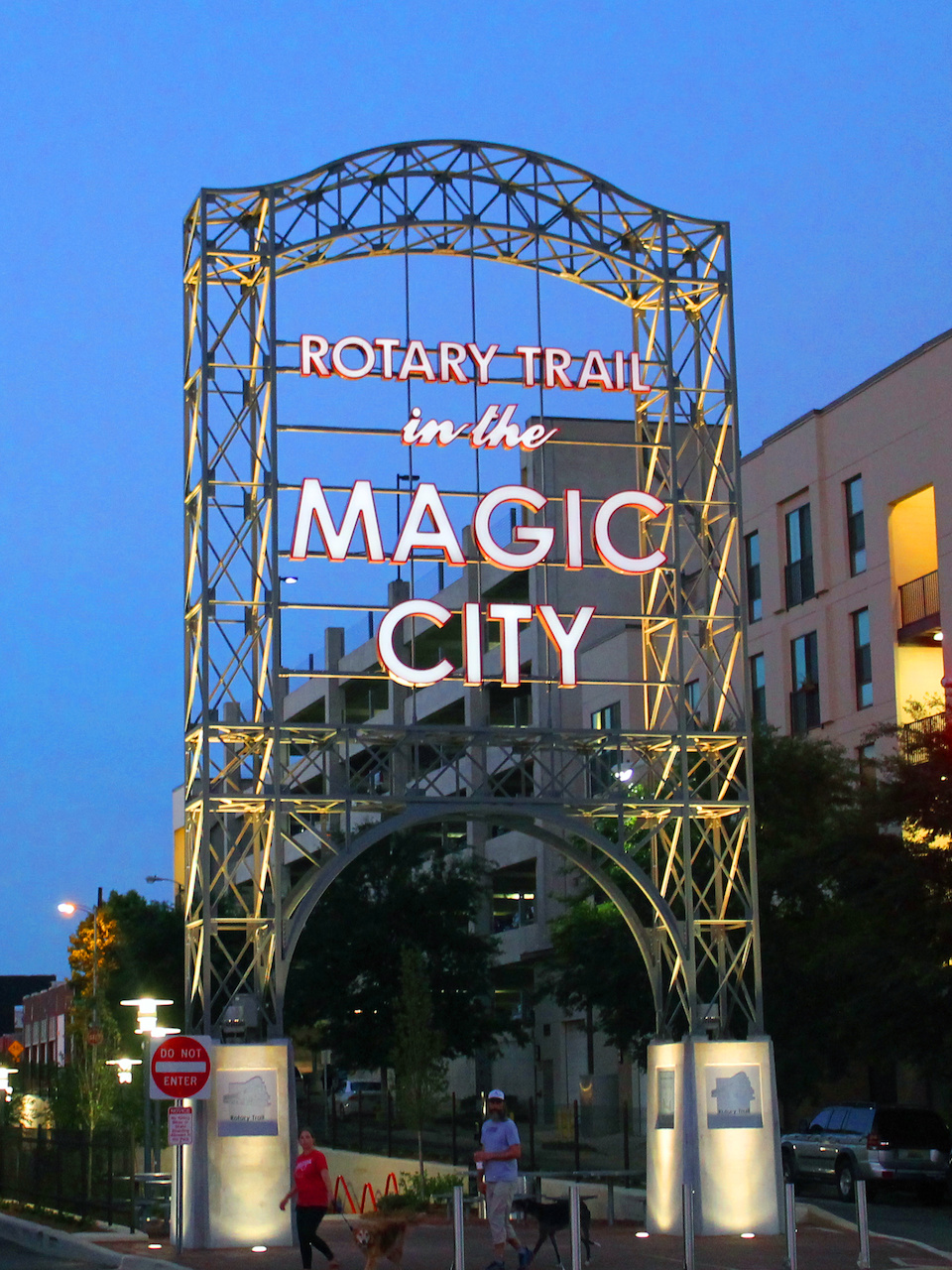 The entrance to the Rotary Trail features this near replica of the iconic sign that used to welcome visitors to the Magic City.