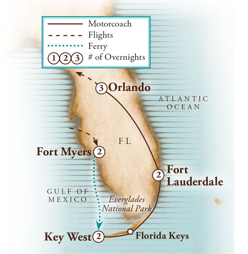 Tour Map for Florida Highlights