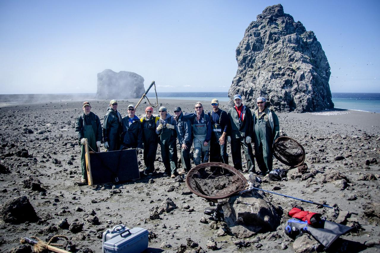 The 2019 survey team on Bogoslof Island.