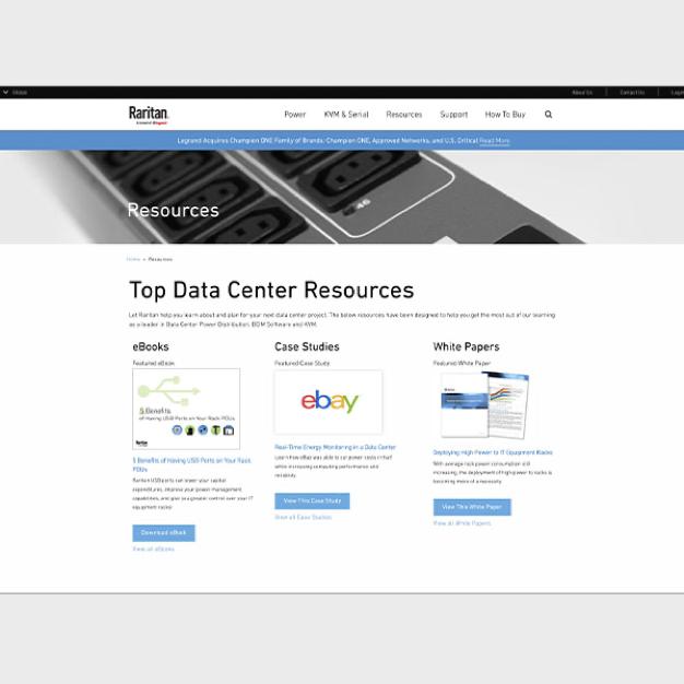 Image of webpage showing Raritan Data Center resources
