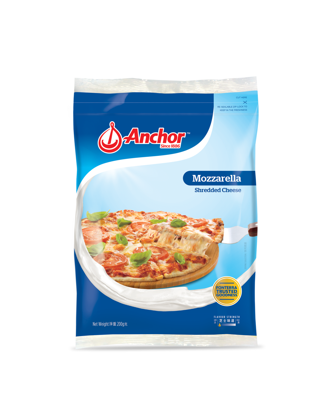 Anchor Mozzarella Shredded Cheese 200g Cheezy Mozarella