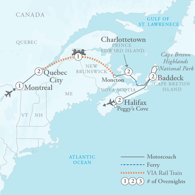 Tour Map for Montreal, Quebec City & Canadian Maritimes