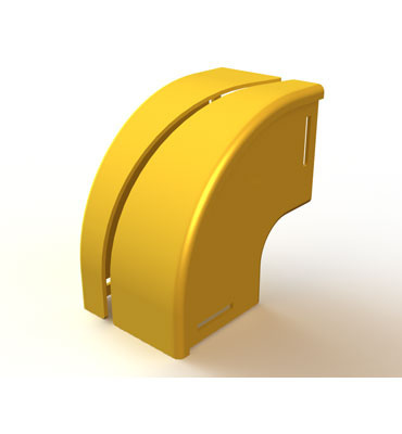 "Mighty Mo Fiber Raceway, Vertical Elbow retrofit, 90deg down, 8"" x 4"", yellow - OR-MMFVER90D8X4-Y"