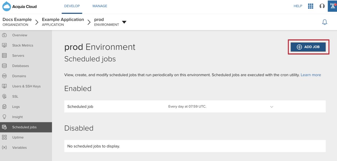 Add a scheduled job image