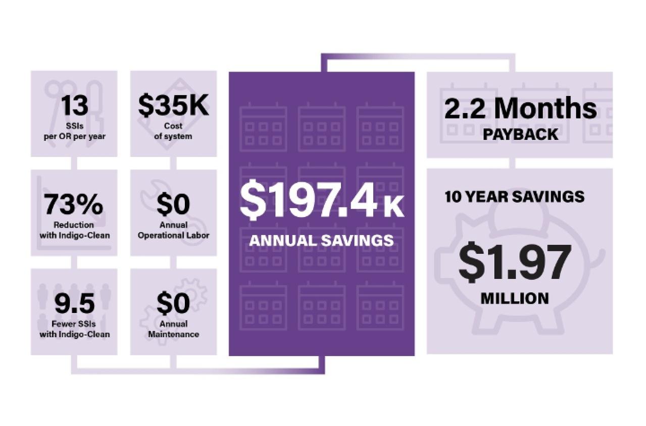 Annual savings chart for using Indigo-Clean