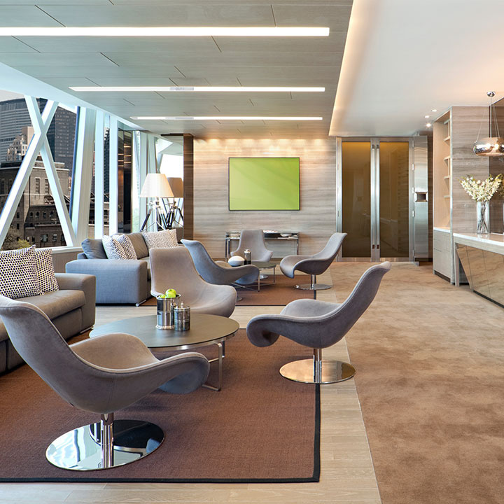 Modern commercial space seating area