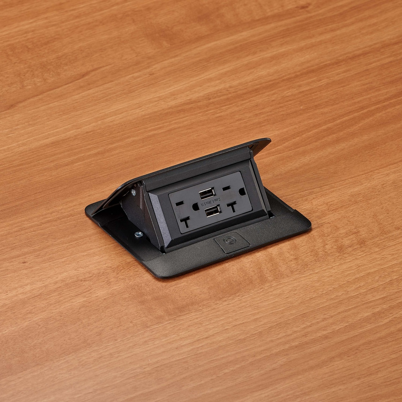 deQuorum Flip-Up Table Box 1-Gang 20A recep 3.1A USB, black finish-side view, DQFP20UBK