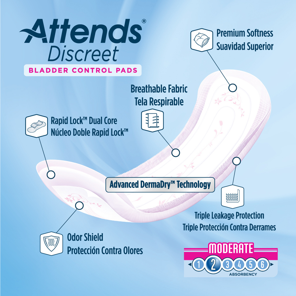 Attends Discreet Women's Moderate Pads