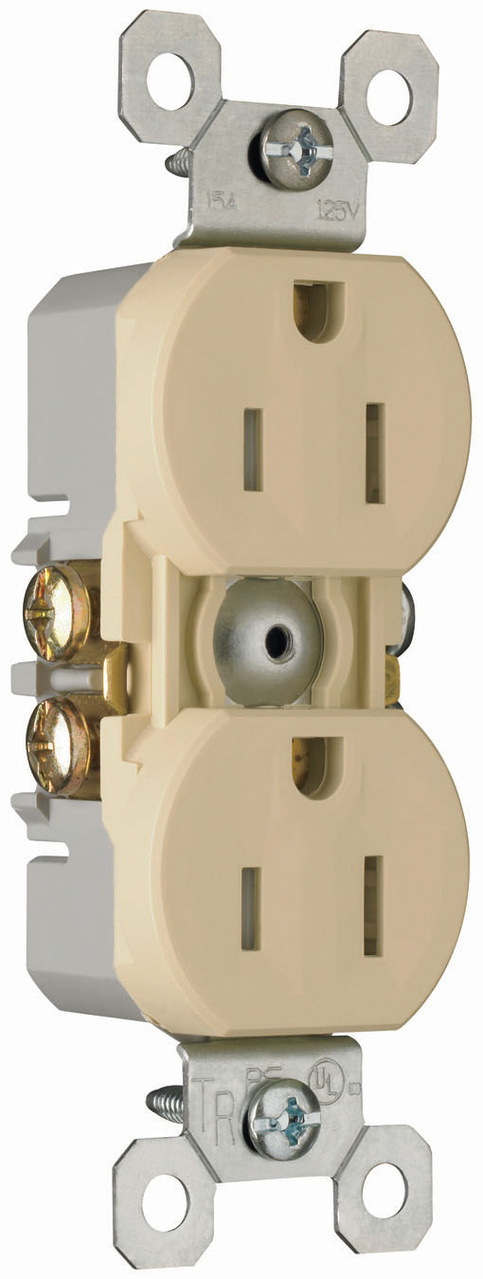 15A/125V TradeMaster® Self-Grounding, Tamper-Resistant Duplex Receptacle, Ivory