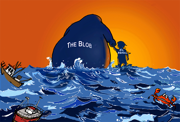 Drawing of a large figured in the ocean labeled Blob holding the hand of a small boy labeled El Nino.
