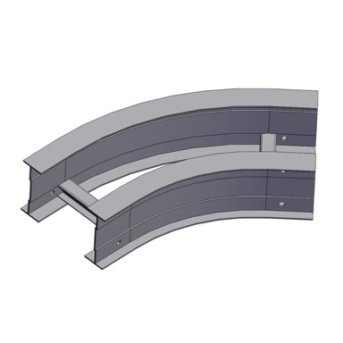 Cable tray 3D rendering of metallic horizontal fitting elbow 45 degree section