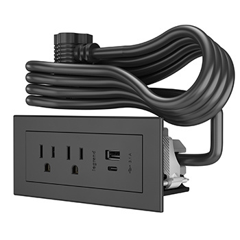 Furniture Power 2- Outlet with USB-A and USB-C Unit- Black