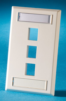 Single gang plastic faceplate, holds three Keystone jacks or modules, fog white, OR-KSFP3