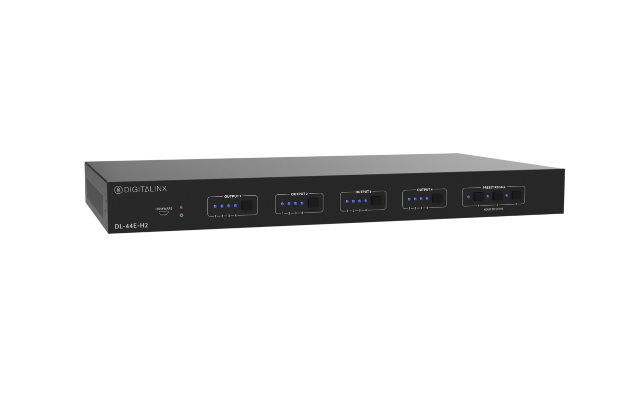 DL-44E-H2-KIT - 4X4 HDBT 18G 4k60 4:4:4 & HDR Matrix Switch w/ Multi Channel Down Mixing / Audio De-Embed, Kitted with 3 18G HDBT Receivers