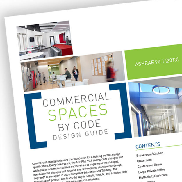 Front page of the ASHRAE 90.1 2016 Design Guide from Wattstopper over a grey background