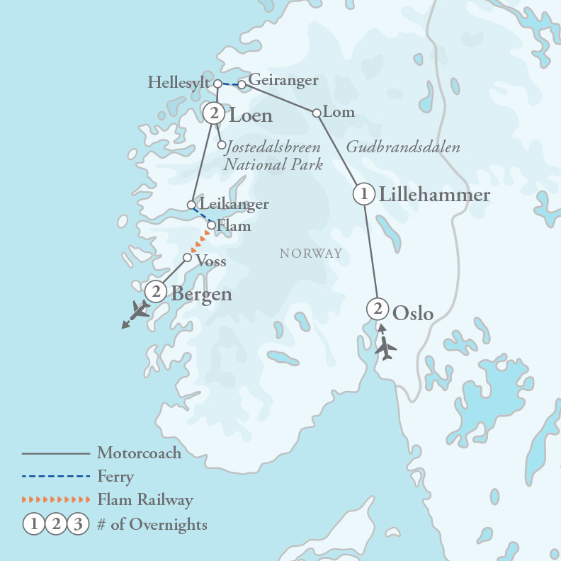Tour Map for Majestic Fjords of Norway