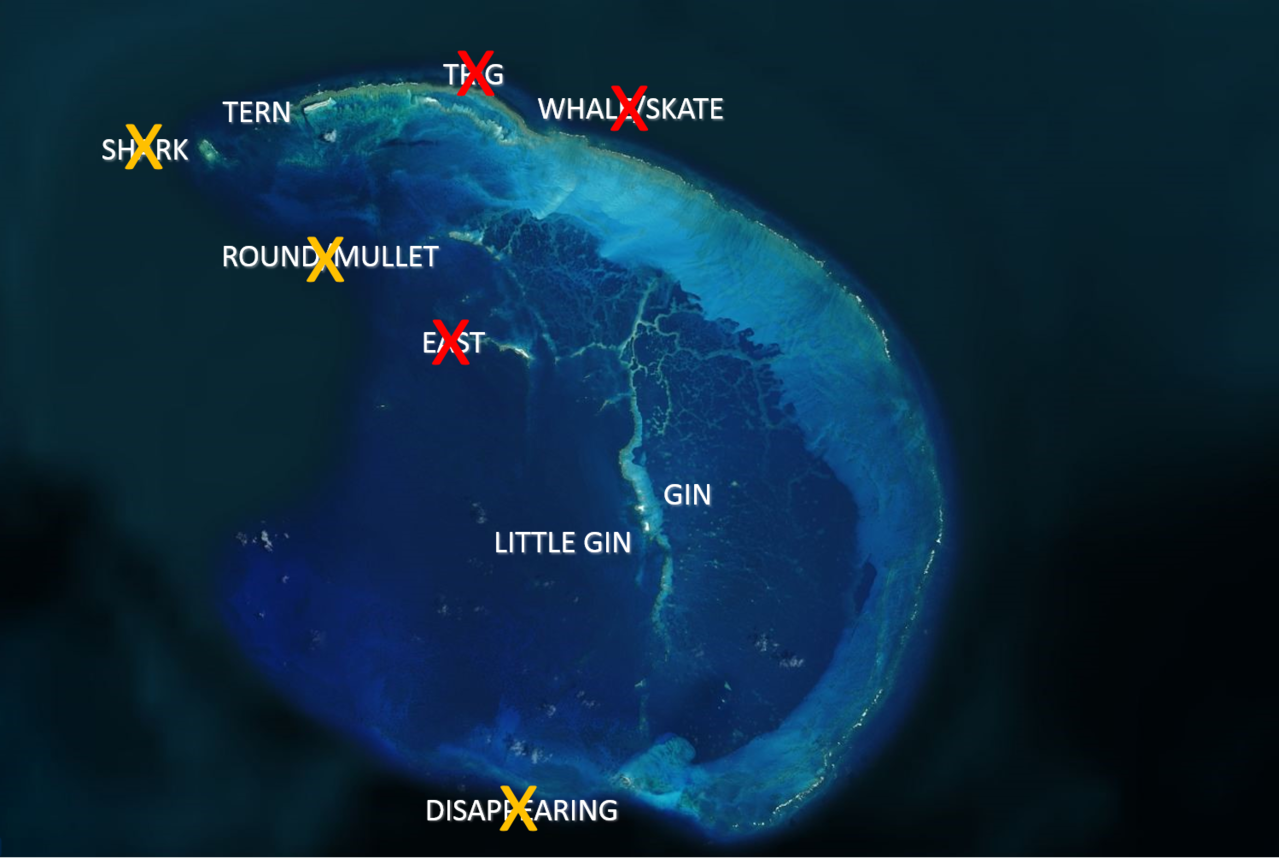 Map of French Frigate Shoals atoll. The red Xs are over islands that have completely eroded away from different causes between 1990 and 2018 and have not yet reappeared (based on our most recent observations). The yellow Xs represent islands that are naturally highly dynamic and come and go (awash) each season.