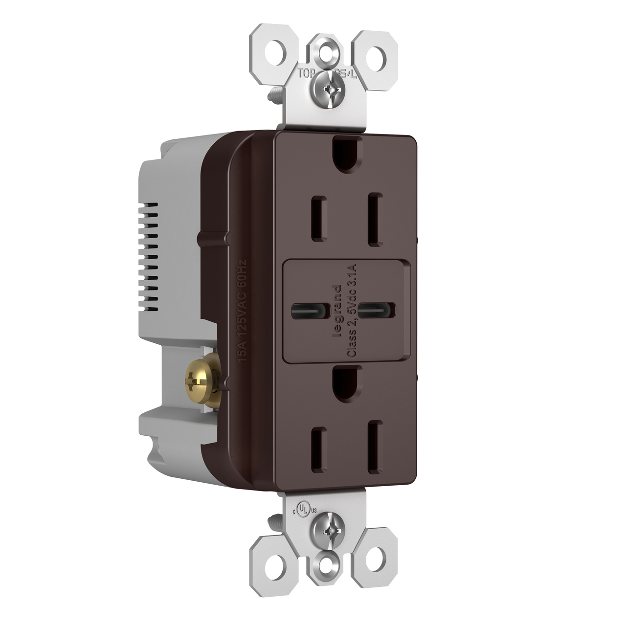 Type C/C USB Chargers with Duplex 15A Tamper-Resistant Outlet, Dark Bronze