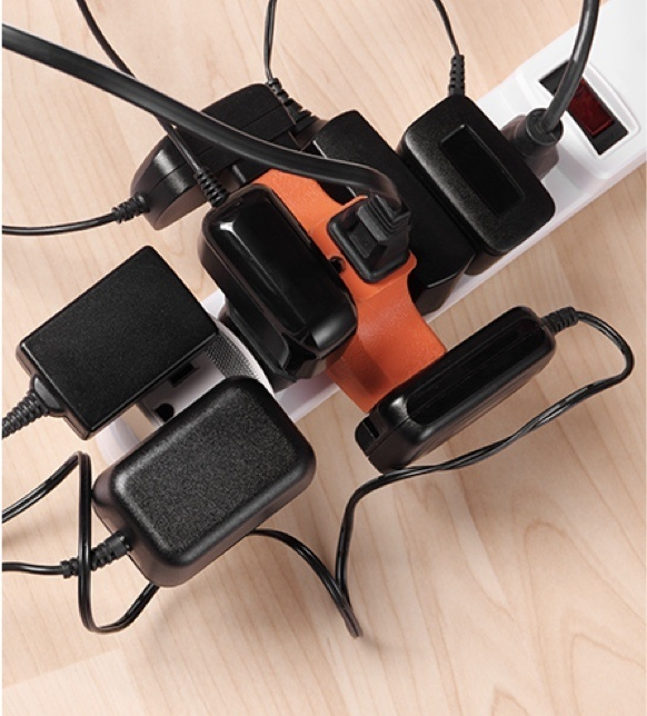 power strip with too may items plugged in