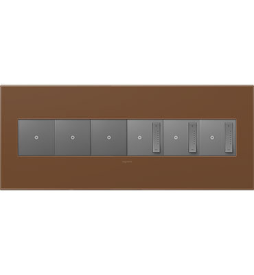 adorne 6-Gang Cappuccino Wall Plate
